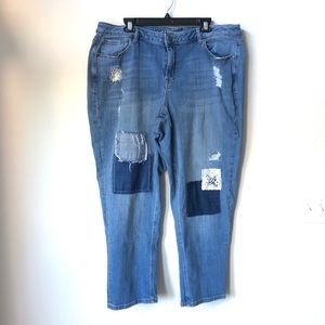 Lane Bryant Distressed Capris with patches Size 20
